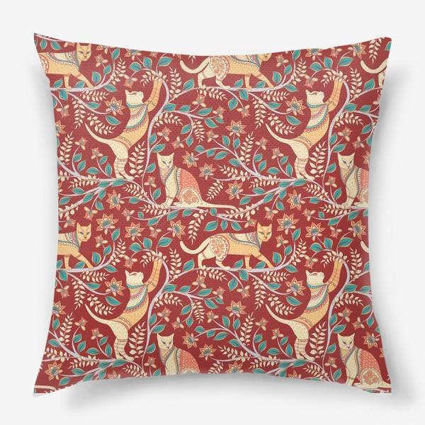 Подушка «Котики с орнаментом. Индийский стиль. Каламкари.»
