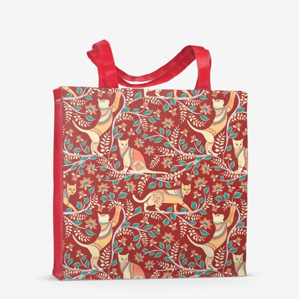 Сумка-шоппер «Котики с орнаментом. Индийский стиль. Каламкари.»