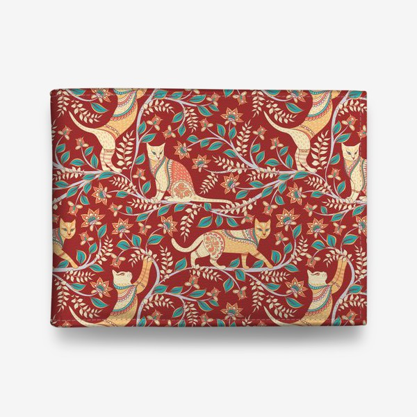 Кошелек «Котики с орнаментом. Индийский стиль. Каламкари.»