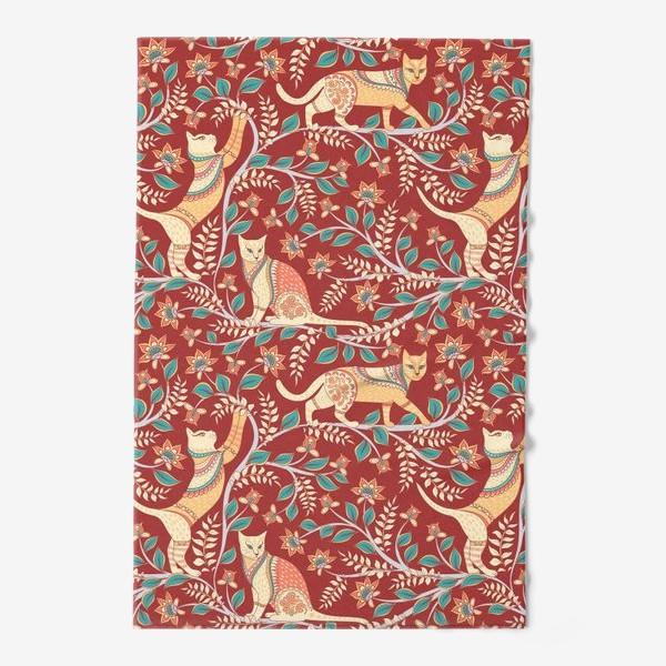 Полотенце «Котики с орнаментом. Индийский стиль. Каламкари.»
