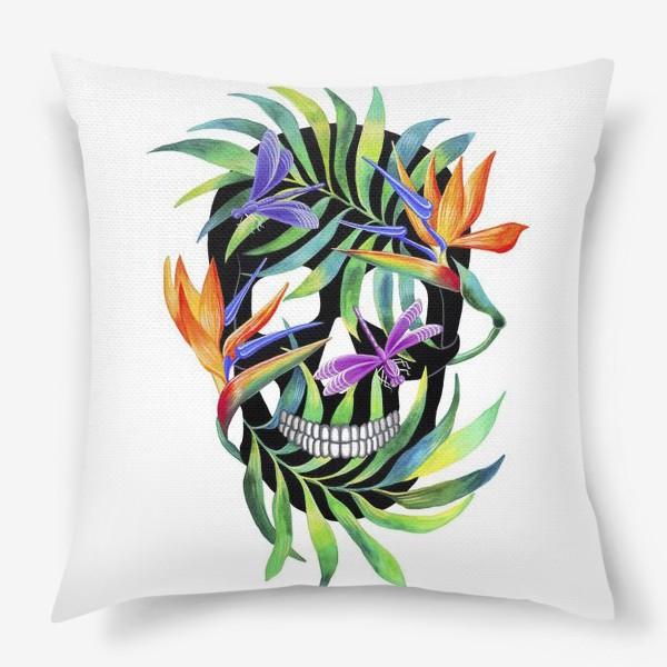 Подушка «Череп с растениями»