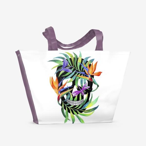 Пляжная сумка «Череп с растениями»