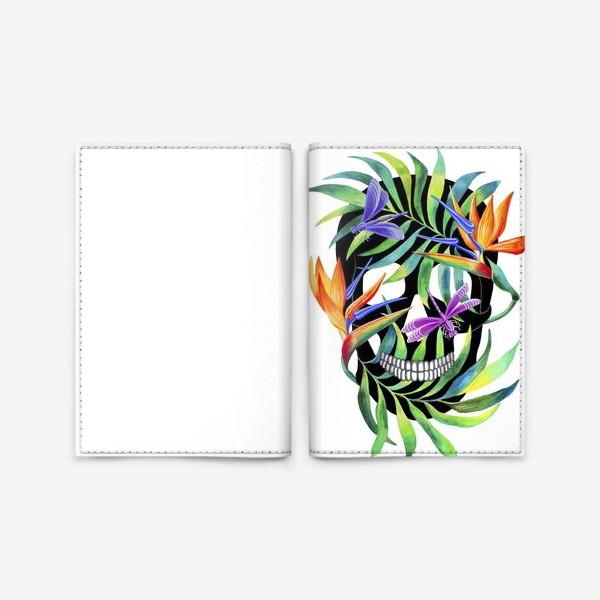 Обложка для паспорта «Череп с растениями»