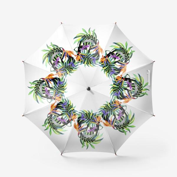 Зонт «Череп с растениями»