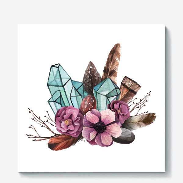 Холст «Цветы и Кристаллы»