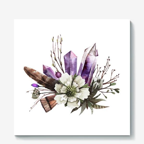Холст «Кристаллы и цветы»