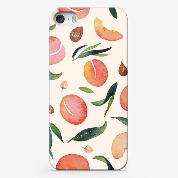 Чехол iPhone «Абрикосовый паттерн на кремовом. Акварель»