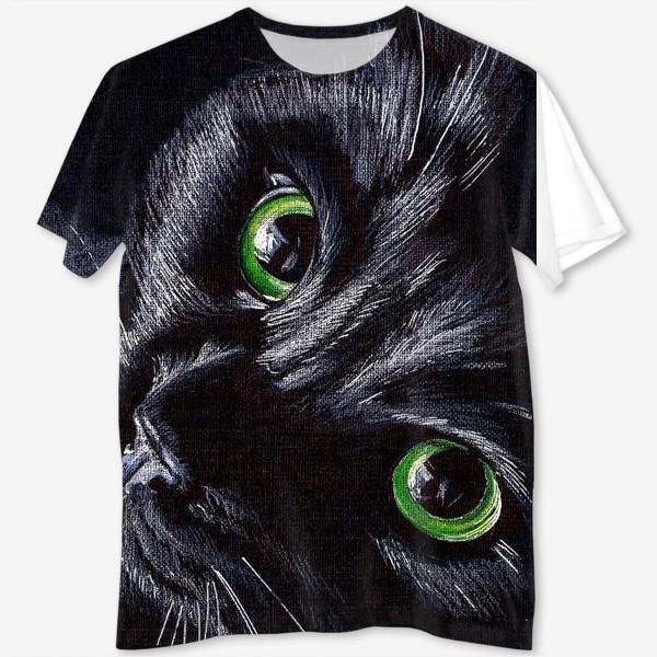 Футболка с полной запечаткой «Черный кот»