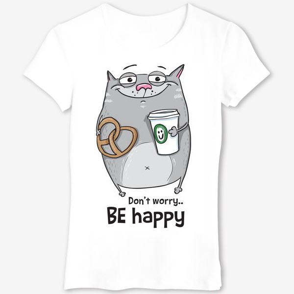 Футболка «be happy - cat»