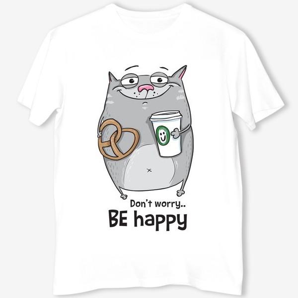 Футболка «be happy - cat»