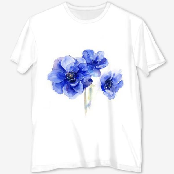 Футболка с полной запечаткой «Синие цветы Анемоны»