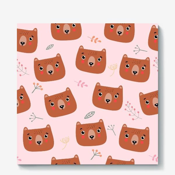 Холст «медведи на розовом»