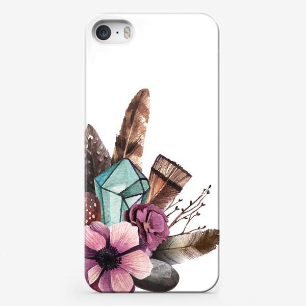 Чехол iPhone «Цветы и Кристаллы»