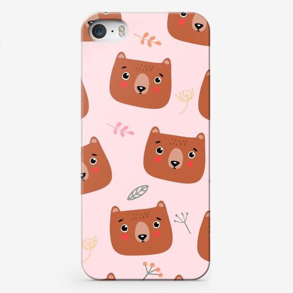 Чехол iPhone «медведи на розовом»