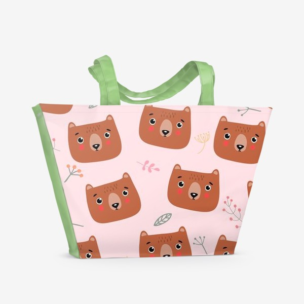 Пляжная сумка «медведи на розовом»