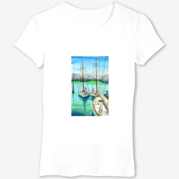Футболка «Море, лодки.»