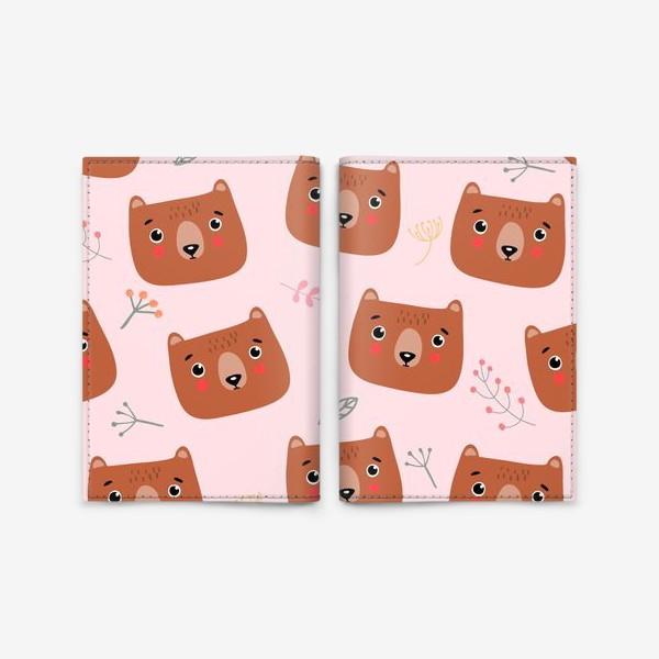 Обложка для паспорта «медведи на розовом»