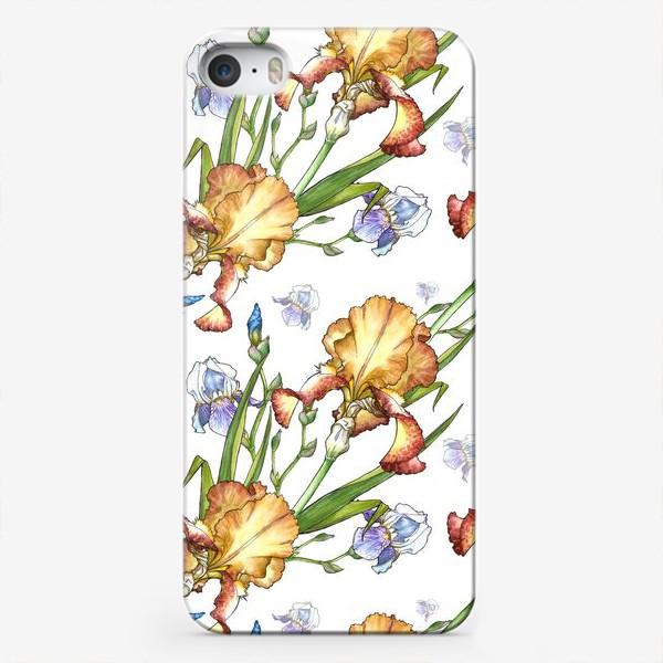 Чехол iPhone «белый паттерн с ирисами»