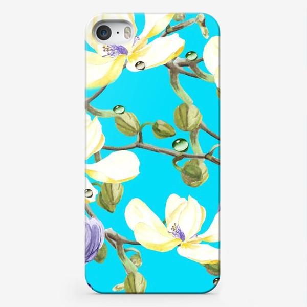 Чехол iPhone «Орхидеи на бирюзовом»