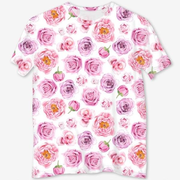 Футболка с полной запечаткой «Узор с розовыми розами»