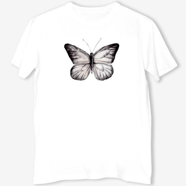 Футболка «Черно-белая акварельная бабочка»