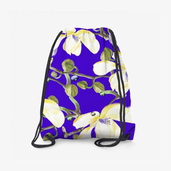 Рюкзак «Орхидеи, хризантемы на синем»