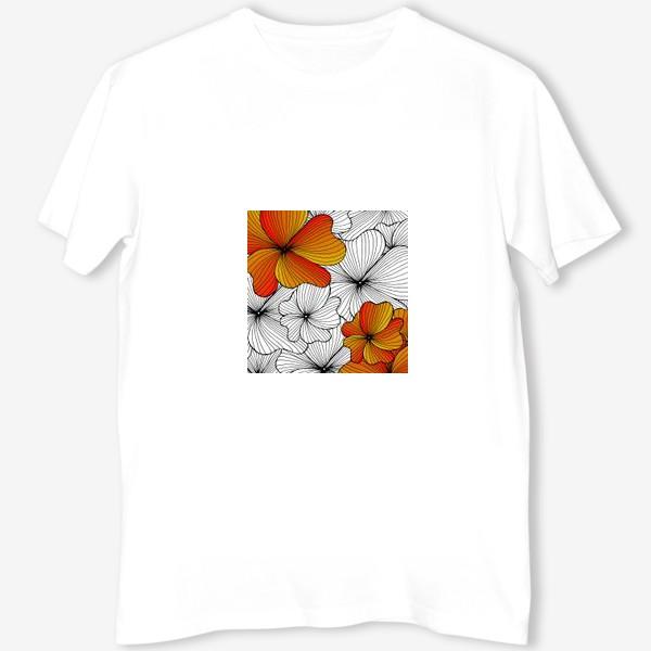 Футболка «Осенние оранжевые цветы»