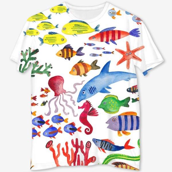 Футболка с полной запечаткой «Рыбы. Подводный мир»