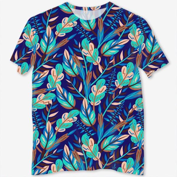 Футболка с полной запечаткой «Весенние листья в синеве»