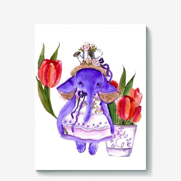 Холст «Фиолетовый слон»
