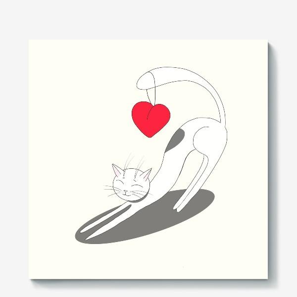 Холст «Влюбленный кот»