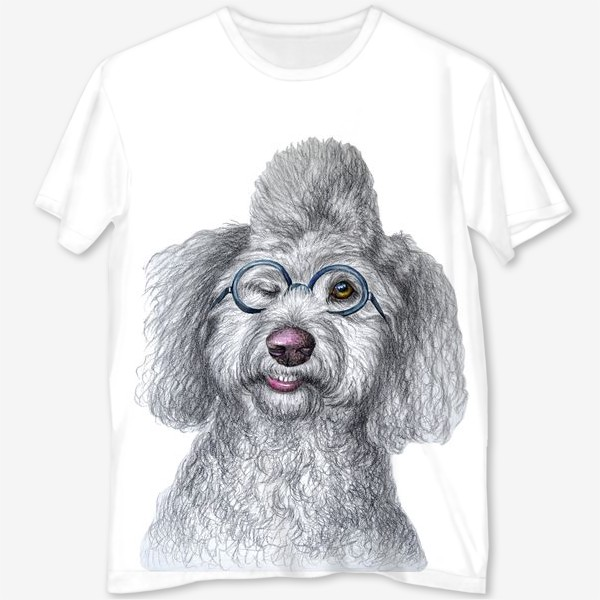 Футболка с полной запечаткой «Собака в очках»