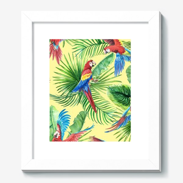 Картина «Тропические листья и попугаи»