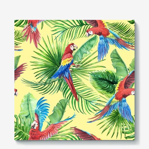 Холст «Тропические листья и попугаи»