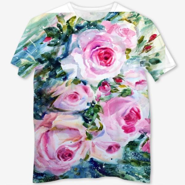 Футболка с полной запечаткой «Розовые розы»
