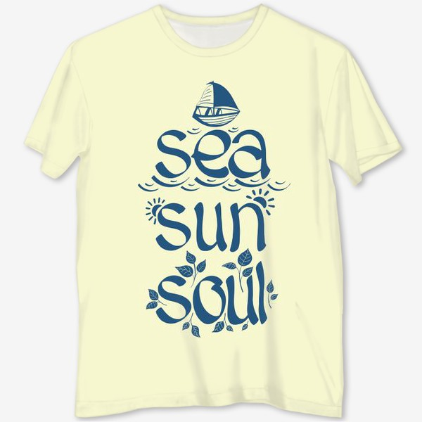 Футболка с полной запечаткой «Море, солнце, душа. »