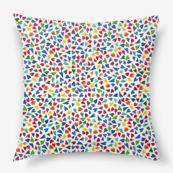 Подушка «Паттерн с акварельными цветными сердечками»