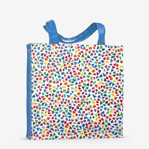 Сумка-шоппер «Паттерн с акварельными цветными сердечками»
