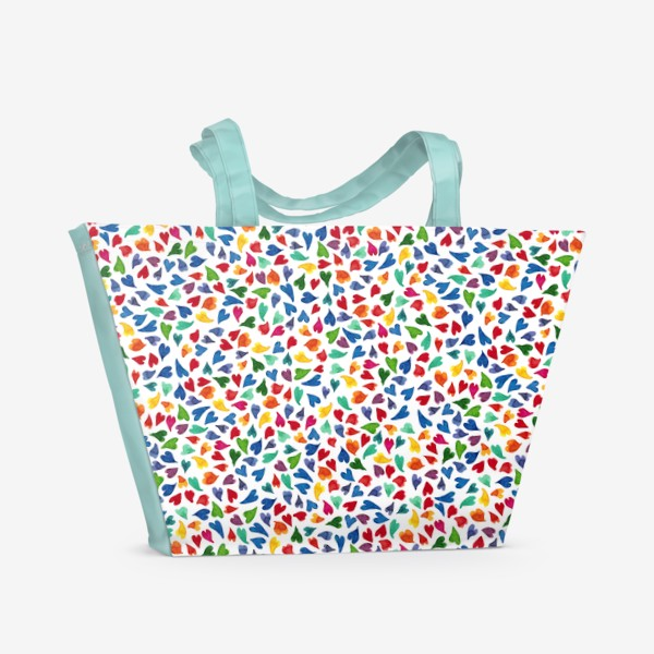 Пляжная сумка «Паттерн с акварельными цветными сердечками»