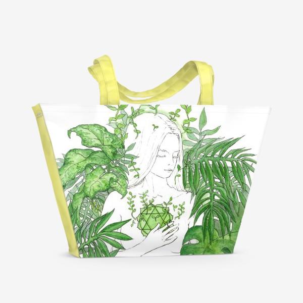 Пляжная сумка «Зеленая чакра Анахата»