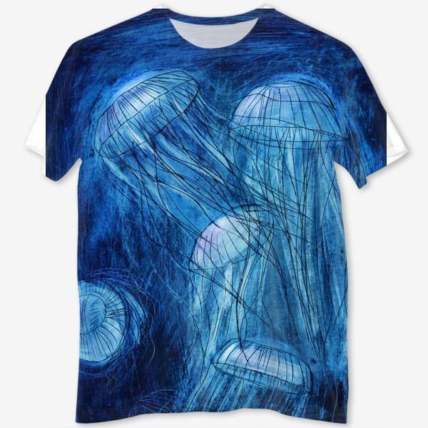 Футболка с полной запечаткой «медузы в море»