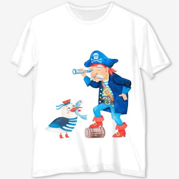 Футболка с полной запечаткой «Пират и чайка»