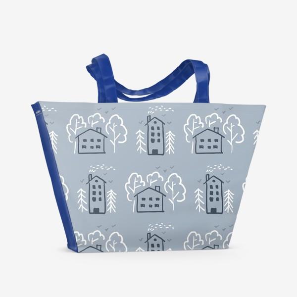 Пляжная сумка «Зимние домики»
