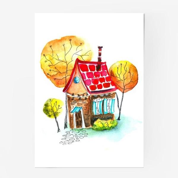 Постер «Осенний домик. Акварель»