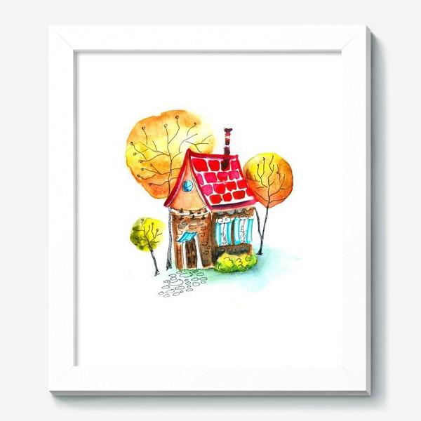 Картина «Осенний домик. Акварель»