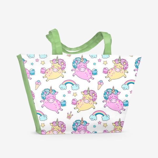 Пляжная сумка «Паттерн с единорогами»