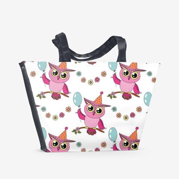 Пляжная сумка «Совенок с шариком. Паттерн»