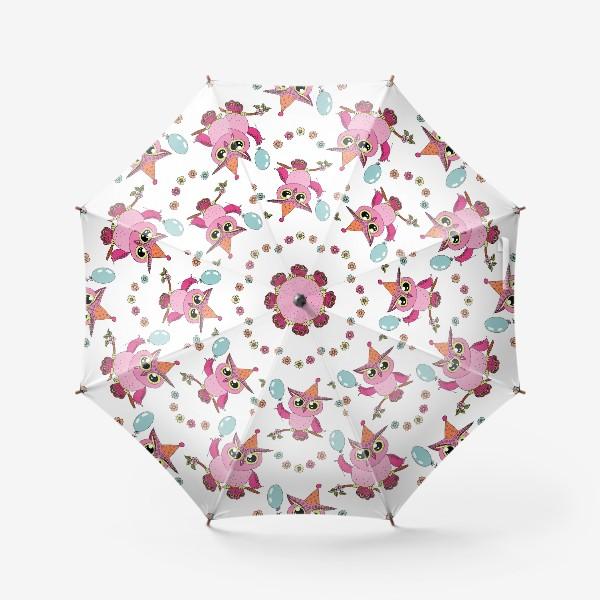 Зонт «Совенок с шариком. Паттерн»