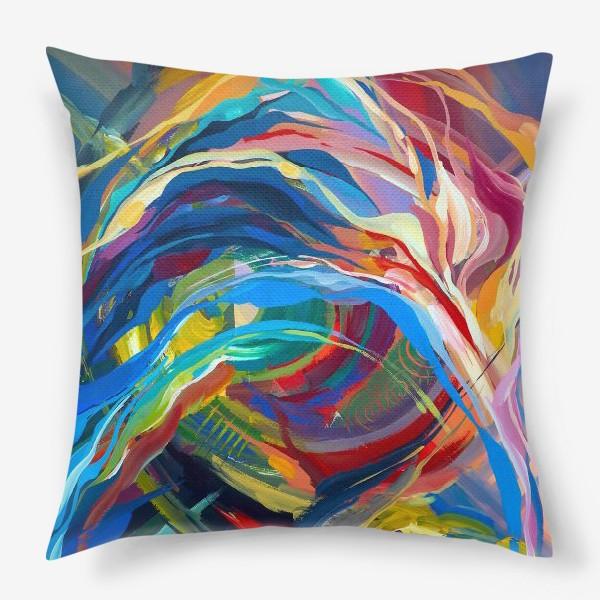 Подушка «Гуашевый фон с абстрактными линиями»