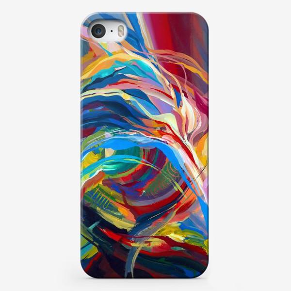 Чехол iPhone «Гуашевый фон с абстрактными линиями»